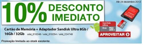 10% de desconto | STAPLES | Cartão memória Sandisk, até 24 dezembro