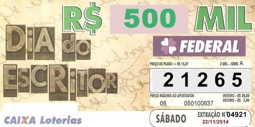 Loteria Federal Extração 04921 sábado 22 11 201