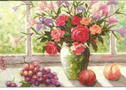 Jarro de Flores N. P1308 Original pintado com a boca por Fu-Tsai Tung
