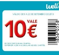 Cupão 10€ em 20€ de compras wells