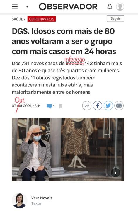 Vera Novais, «D.GS. Idosos com mais de 80 anos voltaram a ser o grupo com mais casos em 24 horas», in Observador, 7/X/21