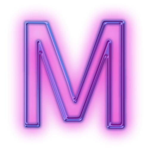 M-glowing-purple-neon-icon-alphanumeric-letter-mm-