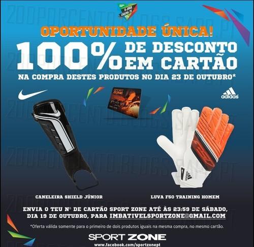 100% desconto em Cartão Sport Zone, dia 23 Outubro, Luvas e Caneleiras