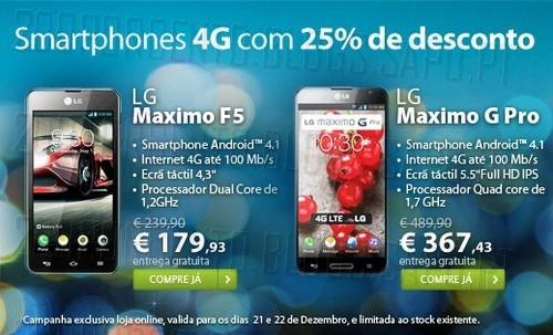 25% de desconto   TMN   Smartphones 4G, dias 21 e 22 Dezembro