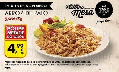 Promoção | PINGO DOCE | Arroz de Pato, de 15 a 18 novembro