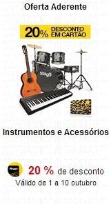 Instrumentos e acessórios com 20% em Cartão