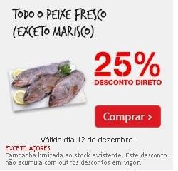 Avistado na TV | CONTINENTE | 25% desconto Peixe Fresco, só hoje 12 dezembro, exeto marisco