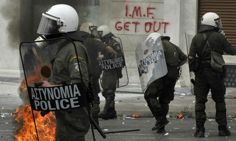 Riot police, Athens, 5 May 2010. Photograph Louisa
