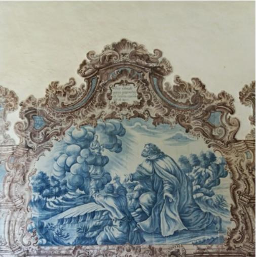 Igreja do Carmo, painel de azulejos no claustro.pn