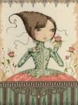 Mirabelle - Menina com vestido verde e rosas