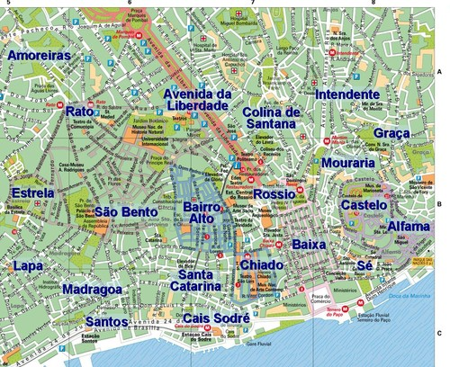 mapa lisboa bairros Mapa de Lisboa (Centro) / Lisbon map (Center)   My own private  mapa lisboa bairros