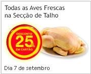 25% em carnes de Aves Frescas
