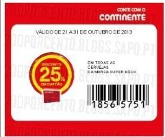 Acumulações Super-Preço+25%, Super-Bock | CONTINENTE | , apenas dia 21 Outubro,
