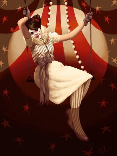 Swing_2d_illustration_girl_stars_clown_circus_swin