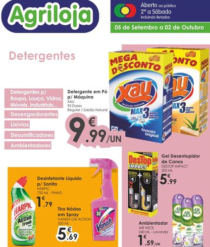 Agriloja Detergentes, de 5 Setembro a 2 Outubro