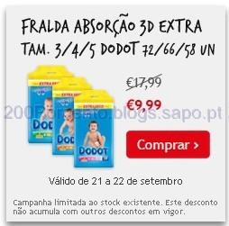 Fraldas Dodot 3d Extra, a 9,99€ no Continente de 21 a 22 Setembro