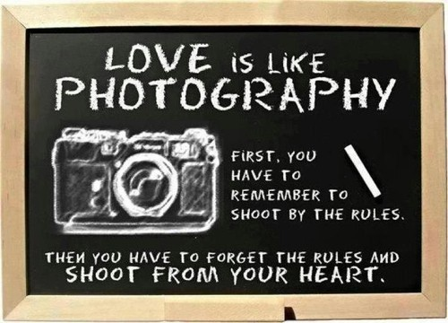 Love is like photography,first, you have to remember to shoot by the rules.  Then you have to forget the rules and shoot from your heart