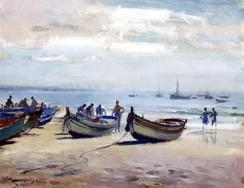Edward Seago - Cascais early morning on the beach