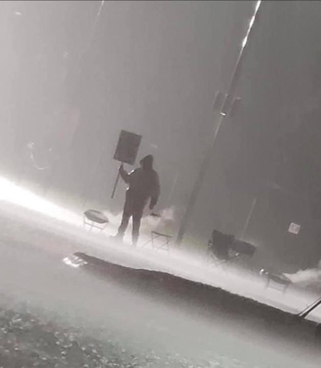 A Kellogg's worker on strike last night in Omaha,