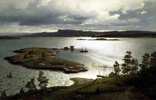 Hans Gude The Fjord at Sandviken 1879