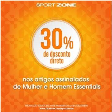 30% de desconto | SPORT ZONE | artigos de Homem e Mulher essentials, de 29 novembro a 24 dezembro