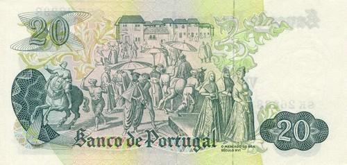 20$00 (Chapa 8, Garcia de Orta, verso). Banco de Portugal, 1977