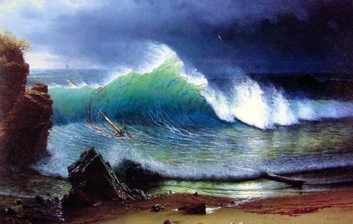 Albert Bierstadt - The-Shore-Of-The-Turquoise-Sea