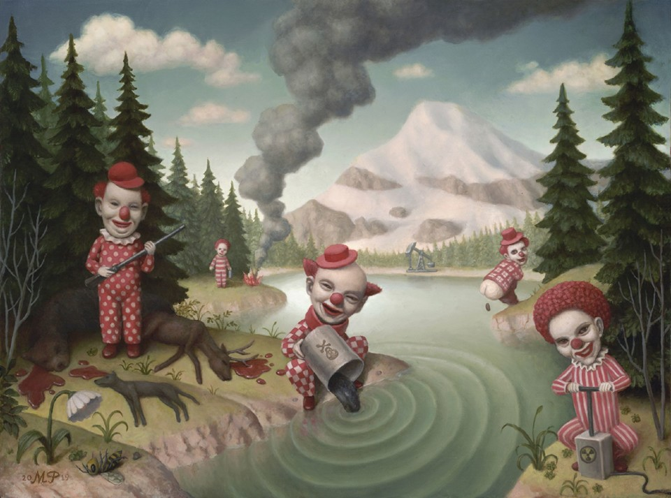 Red Clowns in a Landscape  Marion Peck.jpg