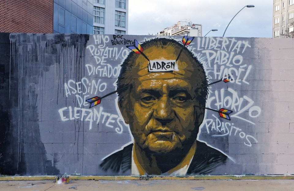 graffiti on King Juan Carlos in support of Pablo H