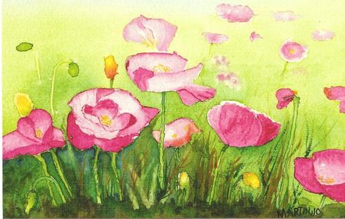 Flores Ondulantes original pintado com a boca Marthinus Pretorius