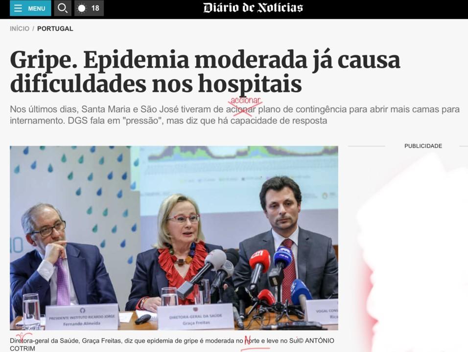 Susete Francisco, «Gripe. Epidemia moderada já causa dificuldades nos hospitais», Diário de Notícias, 5/I/2018