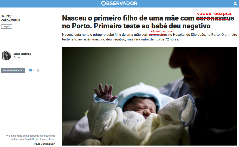 Maria Martinho, «Nasceu o primeiro filho de uma mãe com coronavírus no Porto. Primeiro teste ao bebé deu negativo», in Observador, 17/III/20