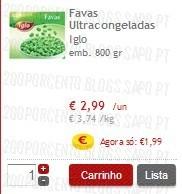 Favas Ultracongeladas Iglo, super preço + 25%