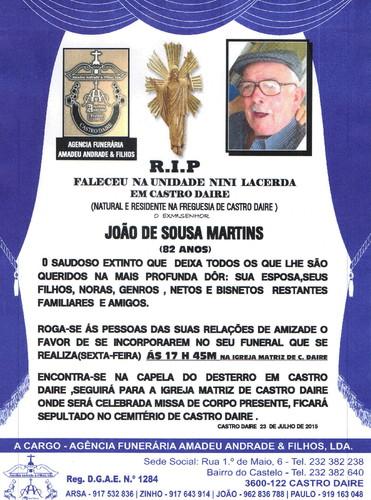 RIP- DE JOÃO DE SOUSA MARTINS-82 ANOS (CASTRO DAI