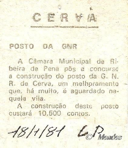 "Vila de Cerva - Posto da GNR - In: Jornal ""O Comercio do Porto"" 1981."