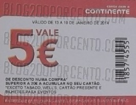O cupão de 5€ | CONTINENTE | mais um exemplo de uso optimizado !