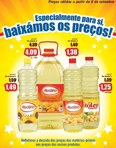 Óleos Alimentares novo Preço a partir de 6 Setembro