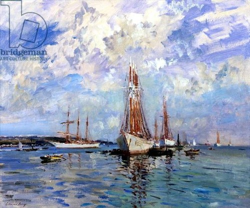 Edward Seago - bacalhoeiros at anchor on the tagus