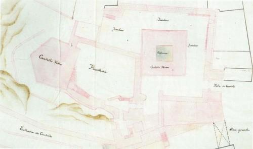 Pormenor da cópia manuscrita da planta do castelo