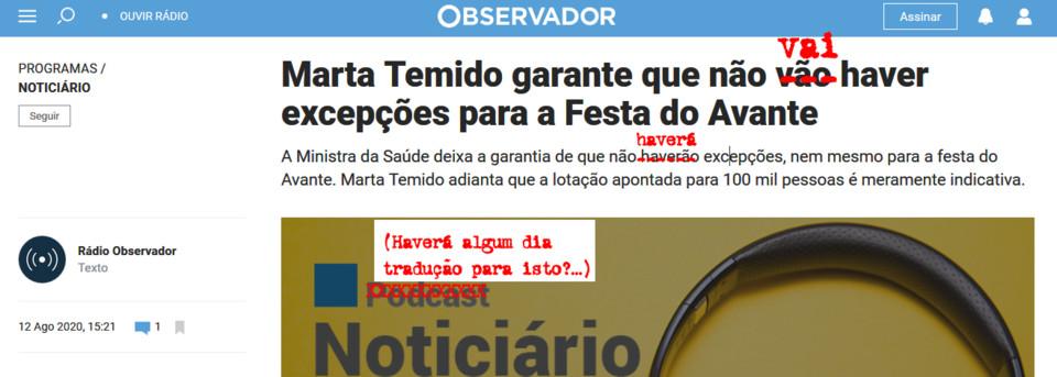 «Marta Temido garante que não vão haver excepções para a Festa do Avante», Observidor [isso mesmo], 12/VIII/20