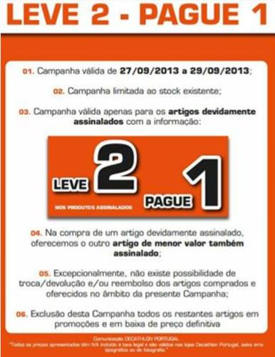 Campanha Leve 2 - Pague 1 Decathlon de 27 a 29 Setembro,