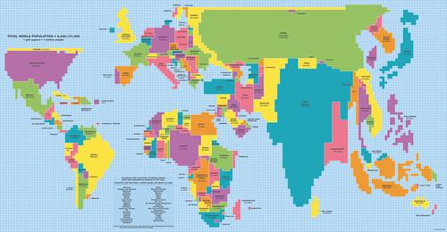 Mapa mundi em proporção com a população de cad
