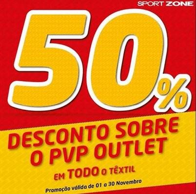 50% desconto | SPORT ZONE | Lojas Outlet até 30 novembro