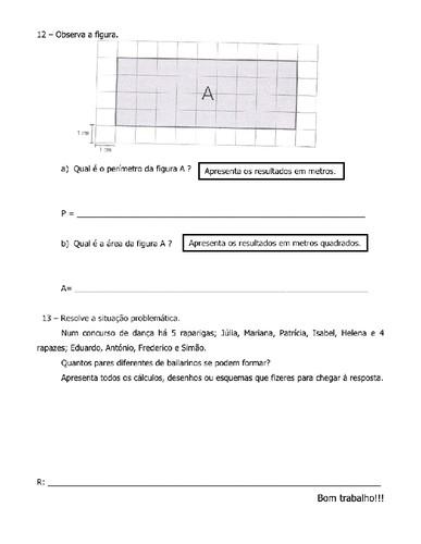 Prova Intercalar 4 Ano 2 Perodo-Matemtica - O Mundo Das Crianas-9993