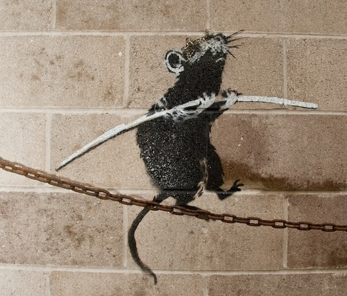 Banksy, Tightrope Rat, Detroit - 2010 Stencil and