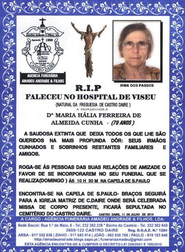 RIP- DE MARIA HÁLIA FERREIRA DE ALMEIDA CUNHA--79