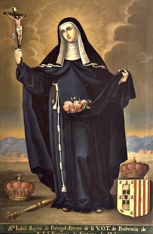 A Rainha Santa Isabel vestida com o seu hábito re