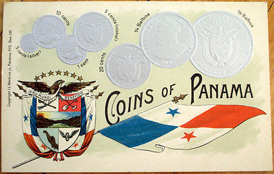 1908-Coins-of-Panama-Postcard-Silver-Embossed-w-Fl