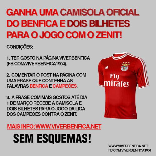 25df90a52a34e Passatempo Camisola Oficial do Benfica + 2 Bilhetes Jogo Zenit -  ViverBenfica (Facebook) - Passatempos4Free