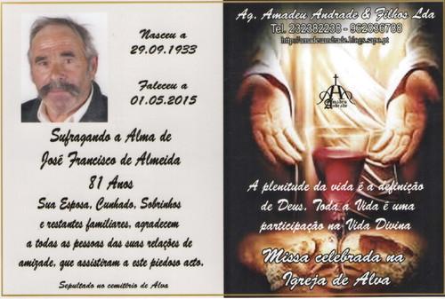CARTÃO  DE JOSÉ FRANCISCO DE ALMEIDA-81 ANOS (AL